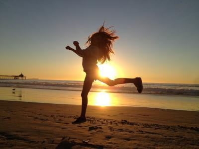 女孩, 跳转, 快乐, 活动, 活动, 体育, 健身