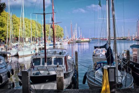 端口, 荷兰, 启动, 小船, 蓝色, 水, 玛丽娜