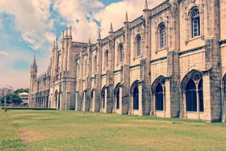 里斯本, 大教堂, 立面, 宗教, 宗教, 建筑, 草坪