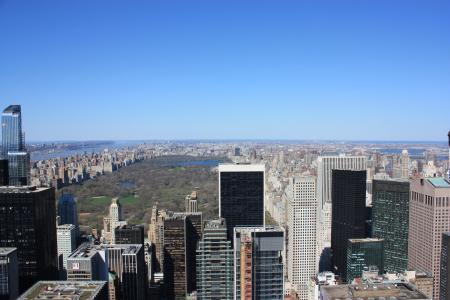 纽约, 中央公园, 高度, 公园, 摩天大楼, 城市