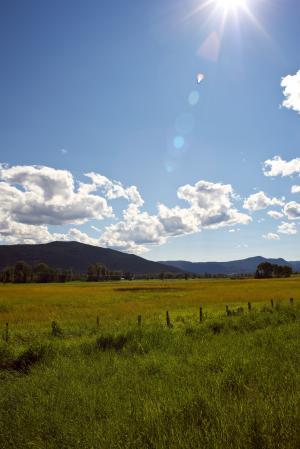 山, 太阳, 耀斑, 云彩, 字段, 栅栏, 天空