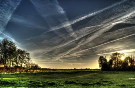 云彩, 多云, 黎明, 黄昏, 景观, 风光, 天空