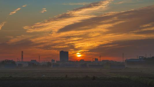 日出, 朝阳, 云计算, 早上, 晨光, 爆发, 野外日出