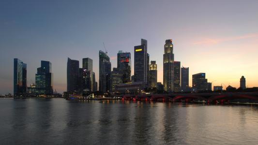 新加坡, 摩天大楼, 城市景观, 业务, 金融, 日落