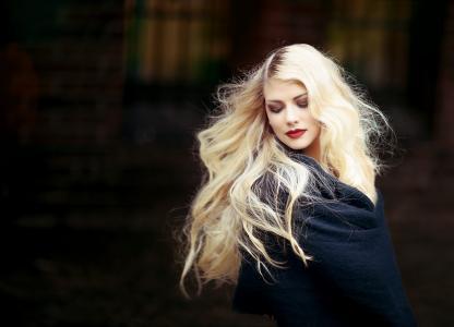 肖像, 女人, 女孩, 金发女郎, 头发, 长长的头发, 金色的头发