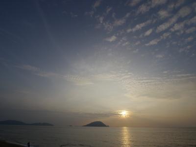 海, 岛屿, 日落