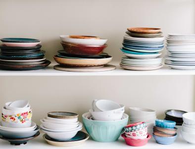 各种, 陶瓷, 菜肴, 餐具, 碗里, 板, 堆栈