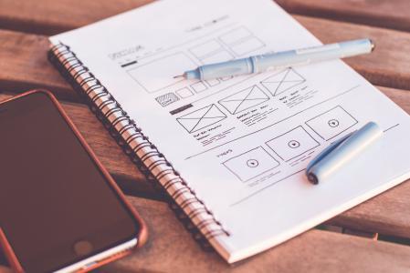 模糊, 手机, 特写, 设计, 设计器, 办公桌, 设备
