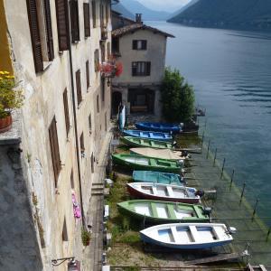 渔船, gandria, 提契诺州, 瑞士, 渔村, 银行, 湖