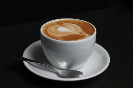 咖啡, 杯, 勺子, 泡沫, 心, 咖啡厅, 豆子