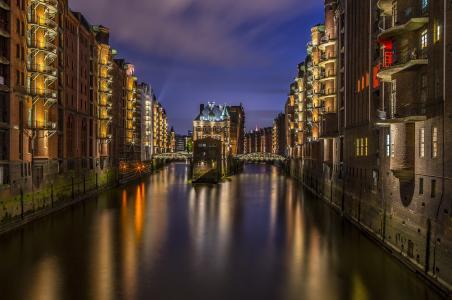 汉堡, 一起, 照明, 光, 晚上, 舰队, wasserschlösschen
