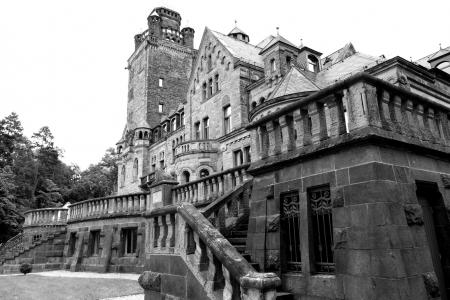 城堡, waldhausen, 德古拉, 不寒而栗, 黑色白色, 建设