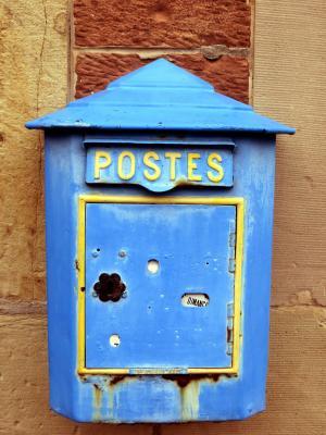 邮箱, 老, 蓝色, 法国, 阿尔萨斯, 信箱, 怀旧