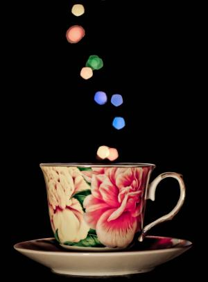 杯, 杯子, 茶, 散景, 灯, 饮料, 热-温度