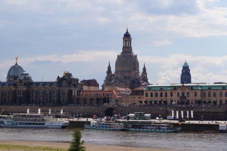 德累斯顿, 圣母教堂, 天际线, 卡纳莱托, 易北河, 建设, 建筑