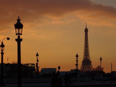 巴黎, 埃菲尔铁塔, 日落, abendstimmung, 冬天, 法国, 建筑