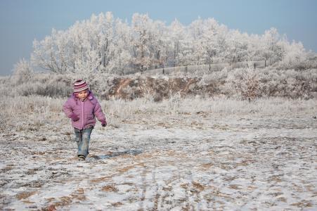 儿童, 男孩, 冬天, 一个小孩子