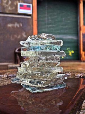 破碎的玻璃, 碎片, 堆叠, 工厂, 平衡