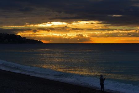 日落, 海滩, 海岸, 海岸, 捕鱼, 人, 波