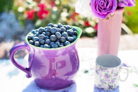 蓝莓, 夏季, 水果, 新鲜, 健康, 甜, 有机