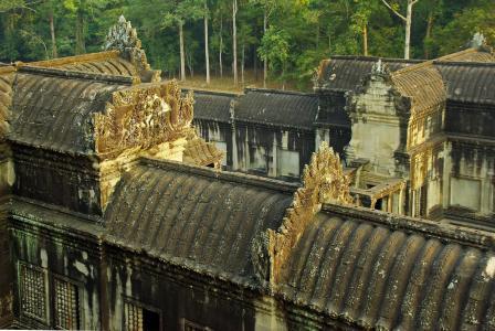 柬埔寨, 吴哥, 吴哥窟, 暹粒, 屋面, 画廊, 雕塑