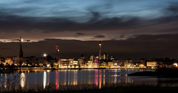 凤凰湖, 城市, 家园, 多特蒙德, 晚上