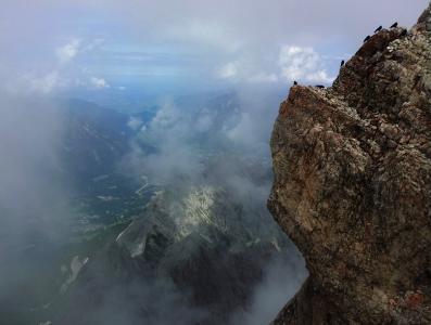 祖格峰, 岩石, 鸟类, 登山, 徒步旅行, 首脑会议, 高山