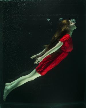 在水之下, 时尚, 女人, 增加, 水, 坦克, 美术