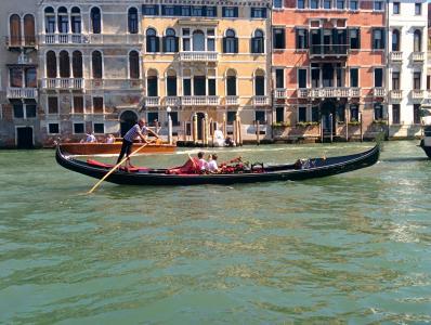 吊船, 威尼斯, 河, 意大利, 船夫, 通道