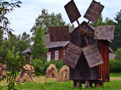 风车, 收获, 玉米, 房子, 木制, 翅膀, 风扇