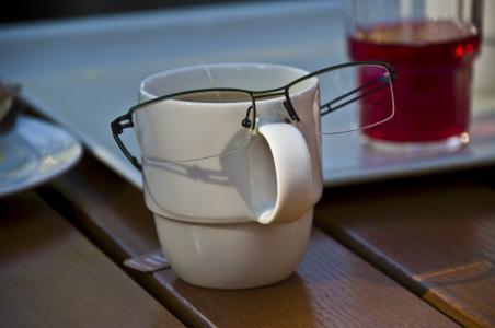 眼镜, 杯, 脸上
