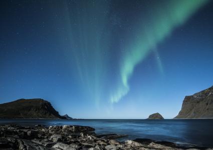 北极光, 罗弗敦, 挪威, 晚上, 海滩, 哥斯达黎加, 冬天