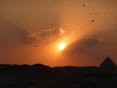 日落, 金字塔, 埃及, 法老王, dom