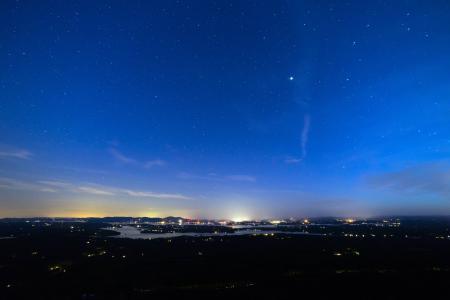 景观, 灯, 晚上, 天空, 星星