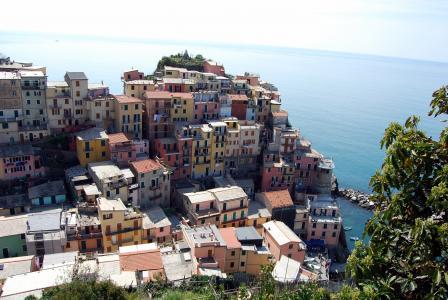 五渔村, 利古里亚, 房屋, 海, 山, 颜色, manarola