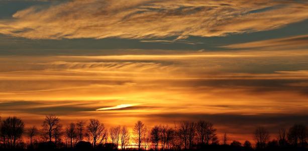 日落, 太阳, 傍晚的天空, 云彩, abendstimmung, 升起的太阳, 全景