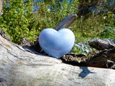 心, 爱, 自然, 髓, 浅蓝色, 运气, 石头