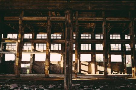 工业, 老厂, 阳光, 颓废, 衰落, 破碎, 建筑