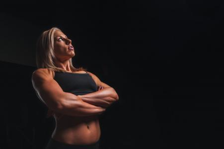 培训, 武器, 金发女郎, 锻炼, 健身, 锻炼, 体育