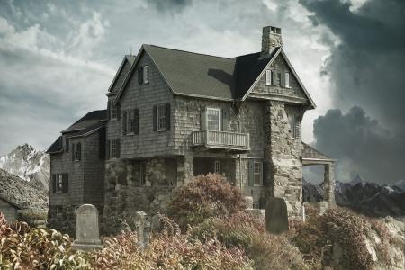 房子, 公墓, 闹鬼的房子, 墓地附近的房子, 黑暗, 恐怖, 哥特式