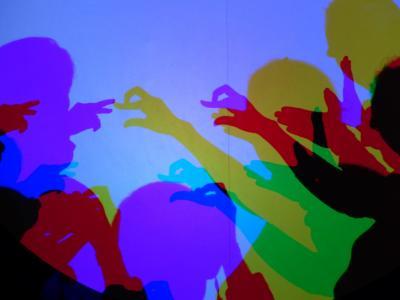 阴影, 皮影戏, 手, 数字, 乐趣, 多彩, 彩色阴影