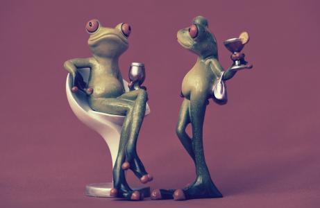 青蛙, 椅子, 舒适的, 两个, 饮料, 葡萄酒, 浸泡