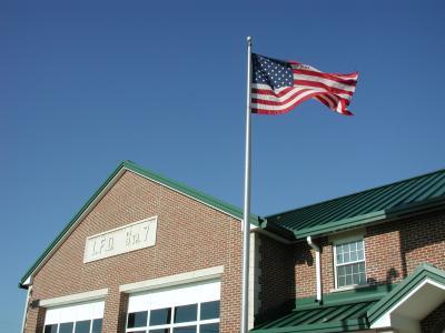 蓝色, 爱国, 挥舞着, 国旗, 消防站, 美国, 美国国旗