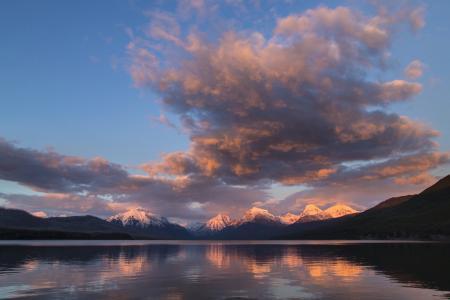 麦当劳湖, 景观, 全景, 日落, 暮光之城, 黄昏, 晚上