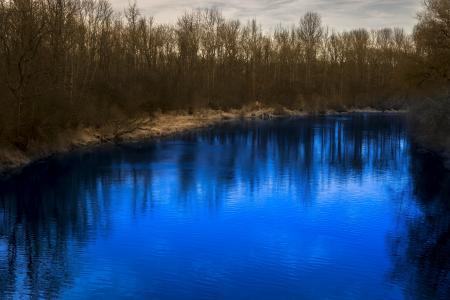 河, 树木, 镜像, 景观, 自然, 森林, 田园