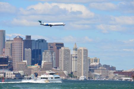 港口城市, 交通, 美国, 波士顿, 美国, 摩天大楼, 平