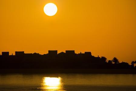 日出, 太阳, 房屋剪影, 心情, 海