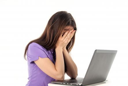 女孩, 计算机, 笔记本, 白色背景, 情感, 人, 工作