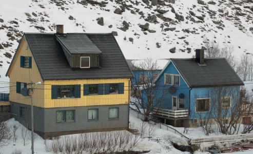 挪威, 拉普兰, 渔夫之家, 峡湾, 雪, 冬天, 房子