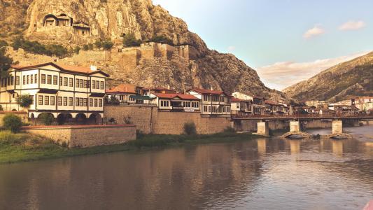 村庄, 河, 水, 桥梁, moutnains, 悬崖, 设防